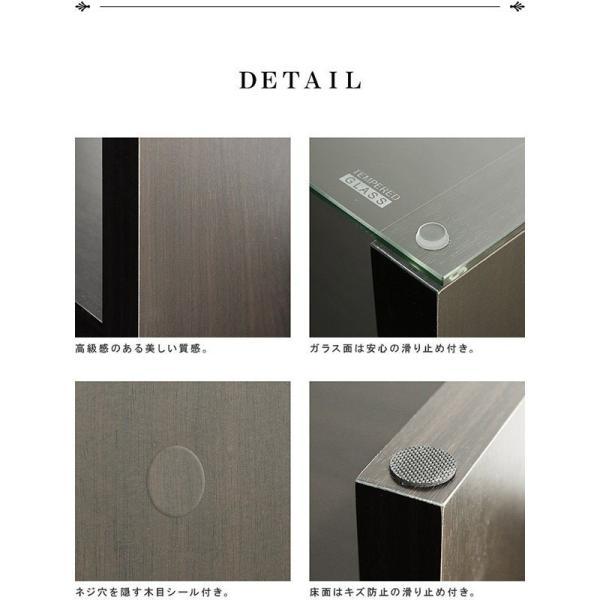 テーブル ガラス ローテーブル センターテーブル リビングテーブル コーヒーテーブル ガラステーブル 木製 幅90cm x 奥行45cm x 高さ40cm 厚さ8mm強化ガラス 北|l-design|04