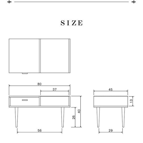 テーブル センターテーブル ガラステーブル リビングテーブル ローテーブル 収納 コレクション 引き出し付き 北欧 ミッドセンチュリー カフェ|l-design|02