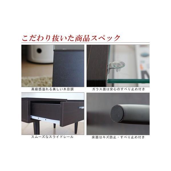 テーブル センターテーブル ガラステーブル リビングテーブル ローテーブル 収納 コレクション 引き出し付き 北欧 ミッドセンチュリー カフェ|l-design|06