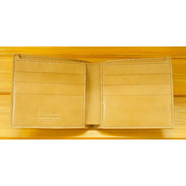 本革二つ折り財布 カード3枚+カード3枚 ベージュ|l-leather