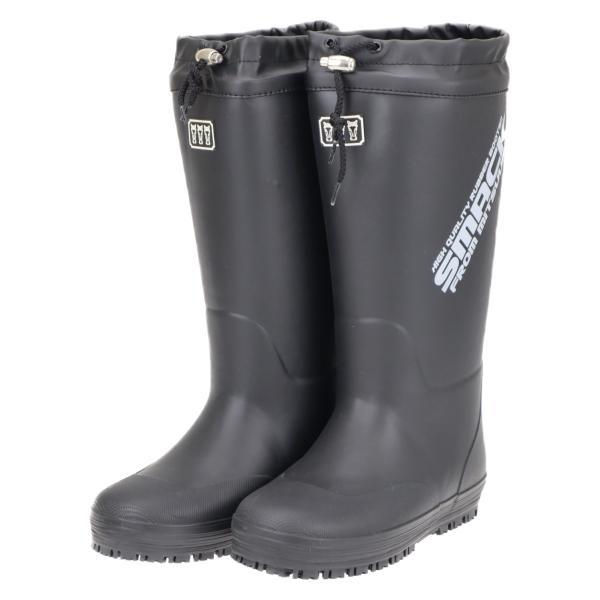ミツウマ メンズ 紳士 カバー付き 滑りにくい 防寒長靴 レインブーツ 太型タイプ 雪 冬 スマック2005 ブラック