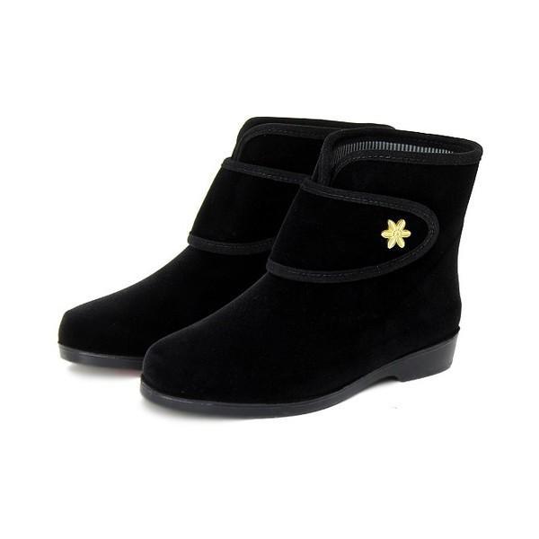ミツウマ レディース 軽量 滑りにくい 暖かい 防寒靴 ショート丈 スノーブーツ エメロード815 クロ