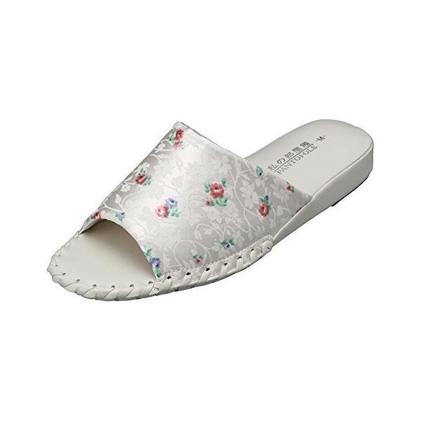pansyパンジー婦人用女性用レディースサンダルスリッパルームシューズ靴花柄室内8645アイボリー
