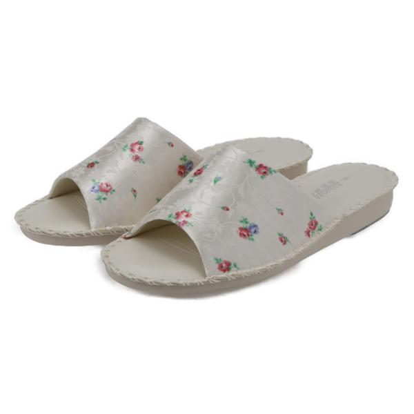 pansyパンジーレディースサンダル女性用婦人用スリッパルームシューズ室内履き部屋履き靴花柄室内8689アイボリー