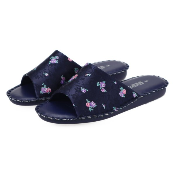pansyパンジーレディースサンダル女性用婦人用スリッパルームシューズ室内履き部屋履き靴花柄室内8689ネイビー