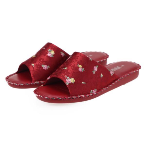 pansyパンジーレディースサンダル女性用婦人用スリッパルームシューズ室内履き部屋履き靴花柄室内8689レッド