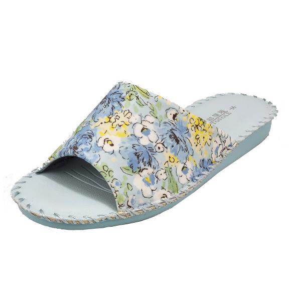pansyパンジーレディースサンダル女性用婦人用スリッパルームシューズ靴花柄室内履き部屋履き8690ブルー