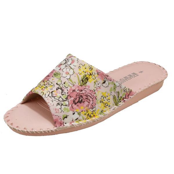 pansyパンジーレディースサンダル女性用婦人用スリッパルームシューズ靴花柄室内履き部屋履き8690ピンク