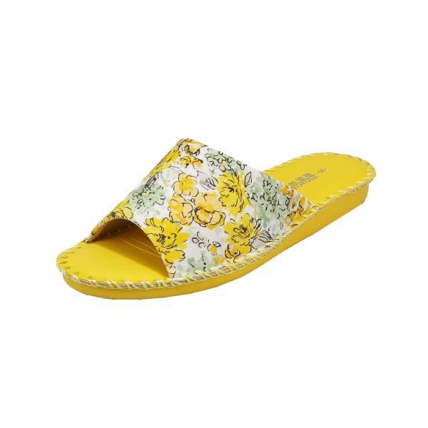 pansyパンジーレディースサンダル女性用婦人用スリッパルームシューズ靴花柄室内履き部屋履き8690イエロー