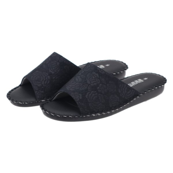 pansyパンジーレディースサンダル女性用婦人用スリッパルームシューズ靴花柄室内履き部屋履き8691ブラック