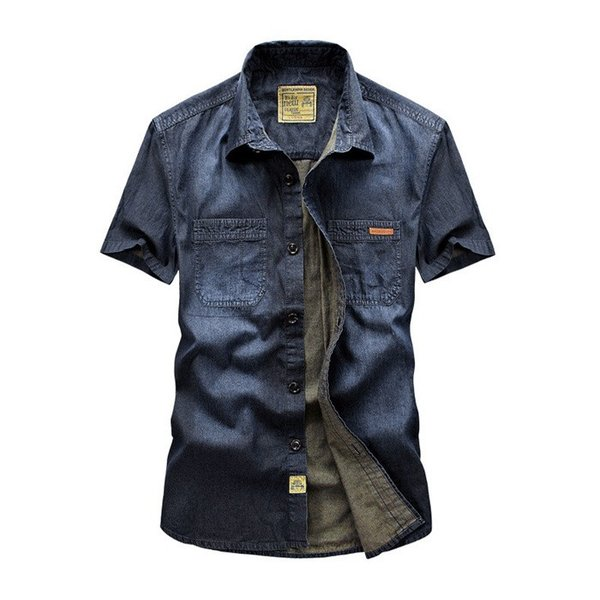 シャツ メンズ カジュアルシャツ メンズ 半袖 無地トップス デニムシャツ 薄て 大きいサイズ ストレッチ アメカジ M〜3XL 送料無料特価販売中|labu|03