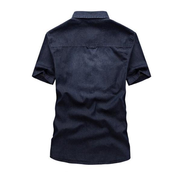 シャツ メンズ カジュアルシャツ メンズ 半袖 無地トップス デニムシャツ 薄て 大きいサイズ ストレッチ アメカジ M〜3XL 送料無料特価販売中|labu|04