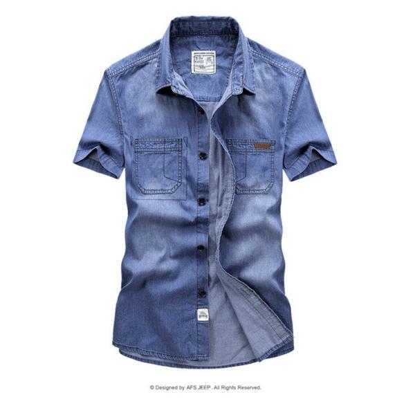 シャツ メンズ カジュアルシャツ メンズ 半袖 無地トップス デニムシャツ 薄て 大きいサイズ ストレッチ アメカジ M〜3XL 送料無料特価販売中|labu|05