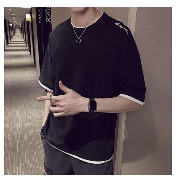 Tシャツ メンズ 半袖 トップス 無地 カットソー Tシャツ 五分丈 カジュアル おしゃれ シンプル 大きいサイズ 2019夏新作|labu|02