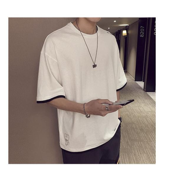 Tシャツ メンズ 半袖 トップス 無地 カットソー Tシャツ 五分丈 カジュアル おしゃれ シンプル 大きいサイズ 2019夏新作|labu|11