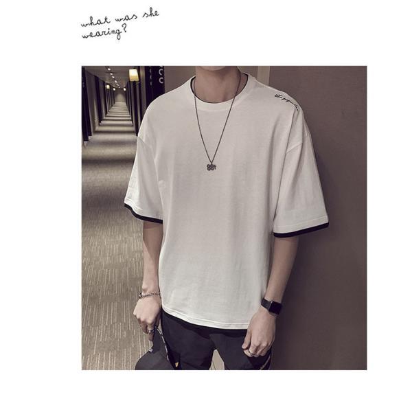 Tシャツ メンズ 半袖 トップス 無地 カットソー Tシャツ 五分丈 カジュアル おしゃれ シンプル 大きいサイズ 2019夏新作|labu|12