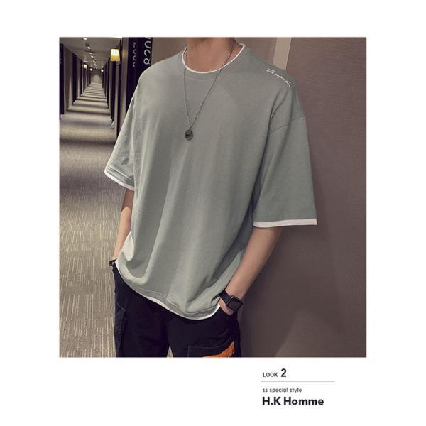 Tシャツ メンズ 半袖 トップス 無地 カットソー Tシャツ 五分丈 カジュアル おしゃれ シンプル 大きいサイズ 2019夏新作|labu|13