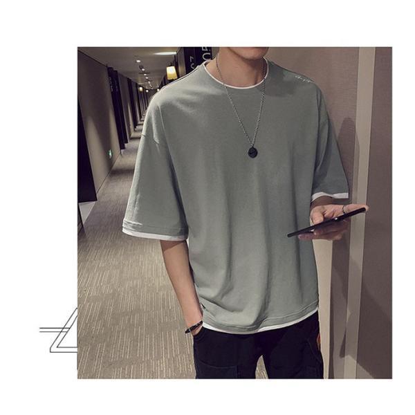 Tシャツ メンズ 半袖 トップス 無地 カットソー Tシャツ 五分丈 カジュアル おしゃれ シンプル 大きいサイズ 2019夏新作|labu|14