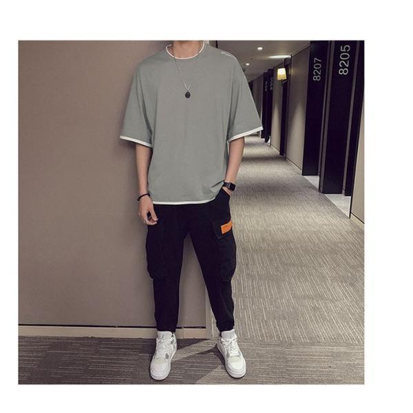 Tシャツ メンズ 半袖 トップス 無地 カットソー Tシャツ 五分丈 カジュアル おしゃれ シンプル 大きいサイズ 2019夏新作|labu|16