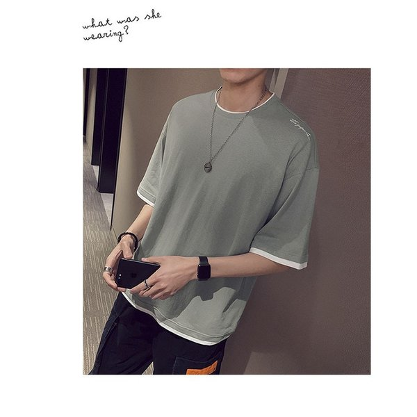 Tシャツ メンズ 半袖 トップス 無地 カットソー Tシャツ 五分丈 カジュアル おしゃれ シンプル 大きいサイズ 2019夏新作|labu|17