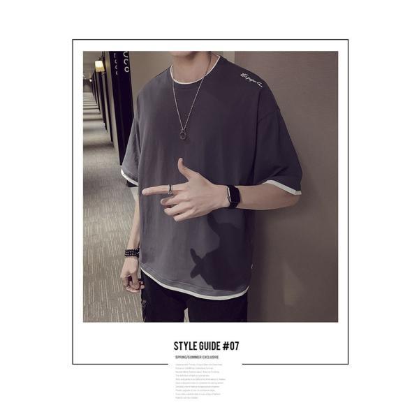 Tシャツ メンズ 半袖 トップス 無地 カットソー Tシャツ 五分丈 カジュアル おしゃれ シンプル 大きいサイズ 2019夏新作|labu|18