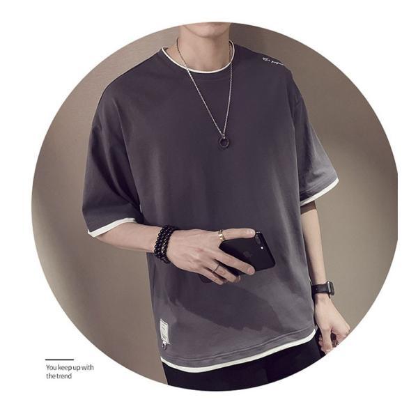 Tシャツ メンズ 半袖 トップス 無地 カットソー Tシャツ 五分丈 カジュアル おしゃれ シンプル 大きいサイズ 2019夏新作|labu|19