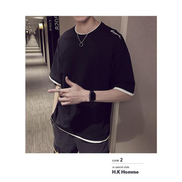 Tシャツ メンズ 半袖 トップス 無地 カットソー Tシャツ 五分丈 カジュアル おしゃれ シンプル 大きいサイズ 2019夏新作|labu|03