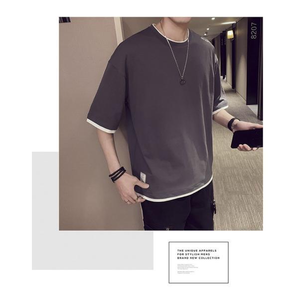 Tシャツ メンズ 半袖 トップス 無地 カットソー Tシャツ 五分丈 カジュアル おしゃれ シンプル 大きいサイズ 2019夏新作|labu|21