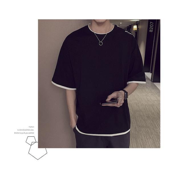Tシャツ メンズ 半袖 トップス 無地 カットソー Tシャツ 五分丈 カジュアル おしゃれ シンプル 大きいサイズ 2019夏新作|labu|04