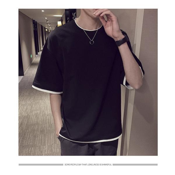 Tシャツ メンズ 半袖 トップス 無地 カットソー Tシャツ 五分丈 カジュアル おしゃれ シンプル 大きいサイズ 2019夏新作|labu|05