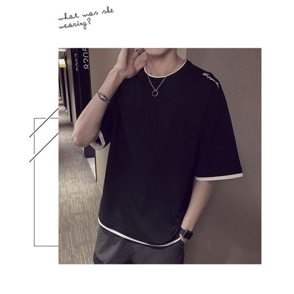 Tシャツ メンズ 半袖 トップス 無地 カットソー Tシャツ 五分丈 カジュアル おしゃれ シンプル 大きいサイズ 2019夏新作|labu|07