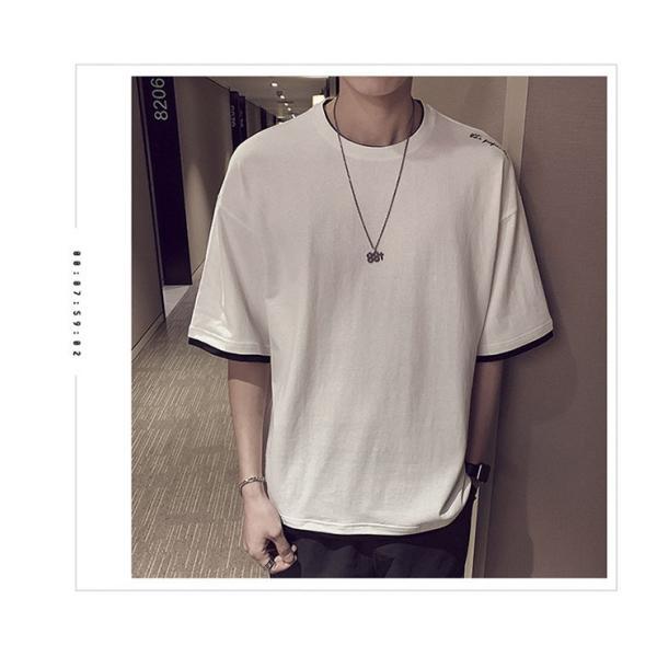 Tシャツ メンズ 半袖 トップス 無地 カットソー Tシャツ 五分丈 カジュアル おしゃれ シンプル 大きいサイズ 2019夏新作|labu|09