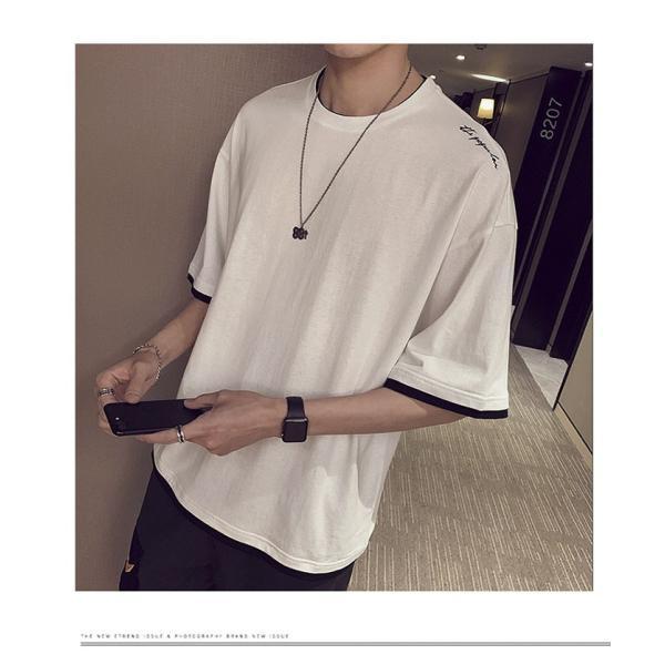 Tシャツ メンズ 半袖 トップス 無地 カットソー Tシャツ 五分丈 カジュアル おしゃれ シンプル 大きいサイズ 2019夏新作|labu|10
