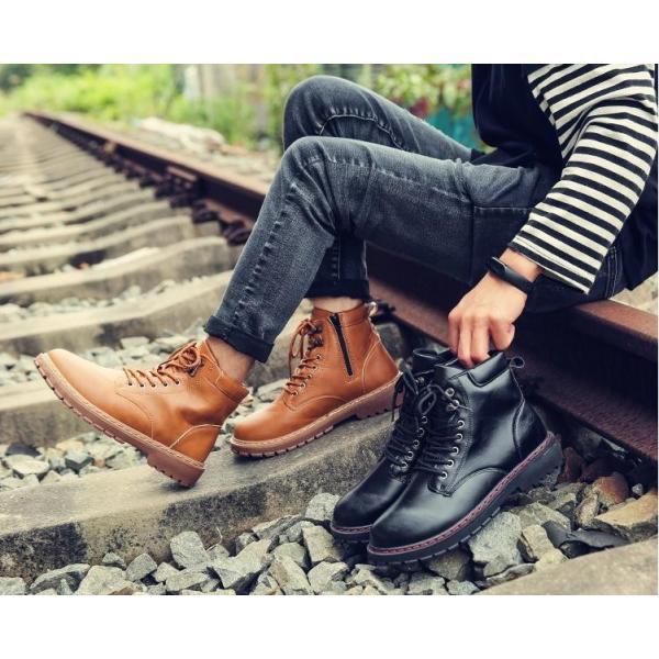 ワークブーツ メンズ ショートブーツ ハイカット レースアップシューズ メンズ靴 エンジニアーツ 大きいサイズ 歩きやすい 2019秋冬新作|labu|02