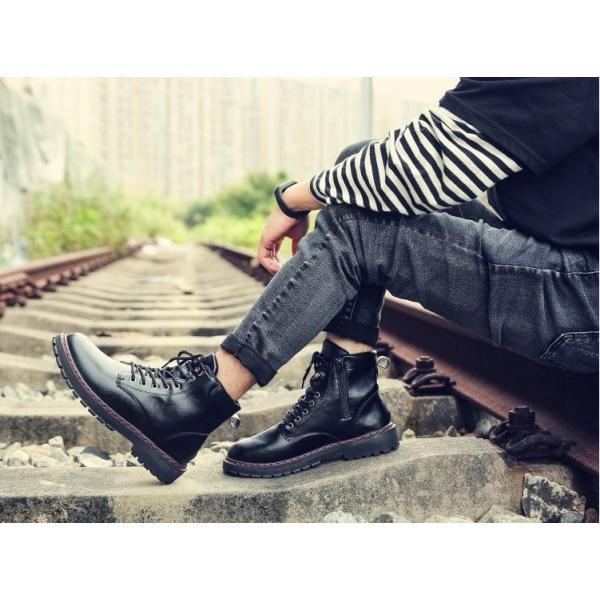 ワークブーツ メンズ ショートブーツ ハイカット レースアップシューズ メンズ靴 エンジニアーツ 大きいサイズ 歩きやすい 2019秋冬新作|labu|04