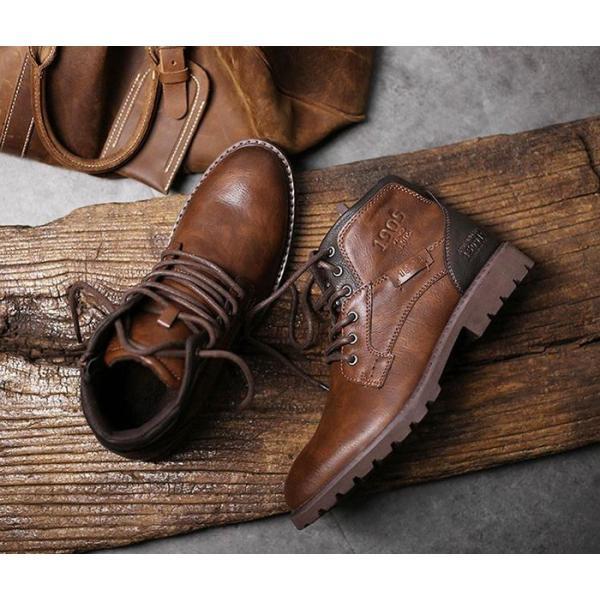 ワークブーツ メンズ ショートブーツ ハイカット レースアップシューズ メンズ靴 エンジニアーツ 大きいサイズ 歩きやすい 2019秋冬新作|labu|05