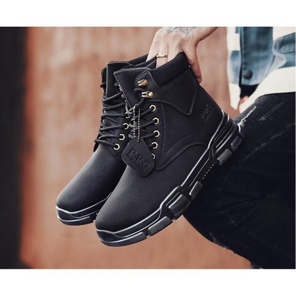 ワークブーツ メンズ ショートブーツ ハイカット レースアップシューズ メンズ靴 エンジニアーツ 大きいサイズ 歩きやすい 2019秋冬新作|labu|08