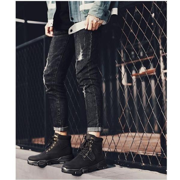 ワークブーツ メンズ ショートブーツ ハイカット レースアップシューズ メンズ靴 エンジニアーツ 大きいサイズ 歩きやすい 2019秋冬新作|labu|09