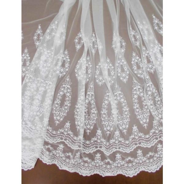 チュールレース生地 片スカラップ(4色) インテリア カフェカーテン ウェディングドレスなど laceya
