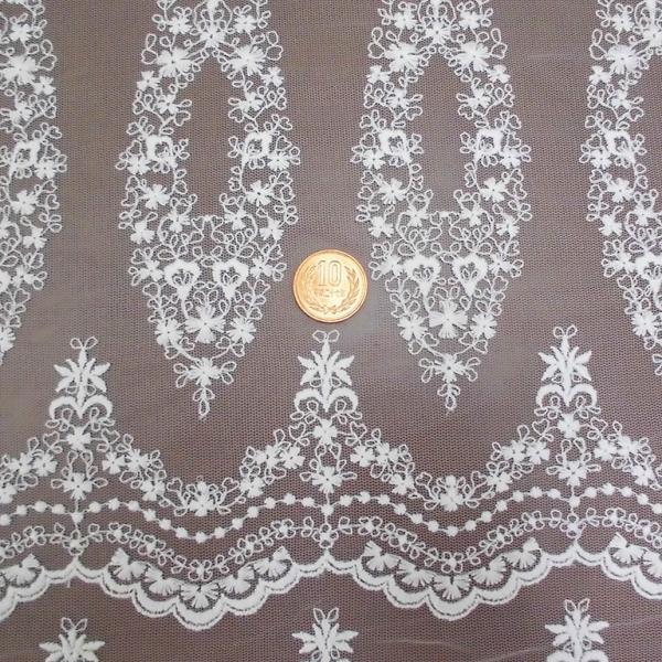 チュールレース生地 片スカラップ(4色) インテリア カフェカーテン ウェディングドレスなど laceya 04