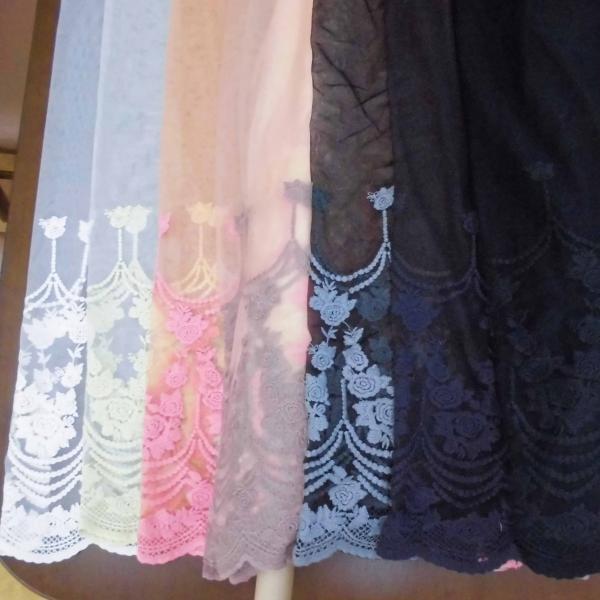 チュールレース生地 片スカラップ(8色) インテリア カフェカーテン ウェディングドレスなど|laceya