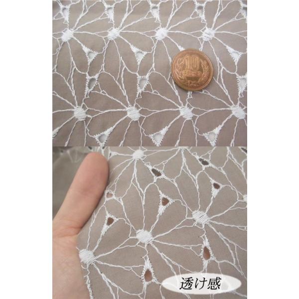 カーテン レース 生地 布 カットワークレース生地(5色) 綿生地におしゃれな花柄刺繍 ハワイアン、和柄とも相性良 laceya 02