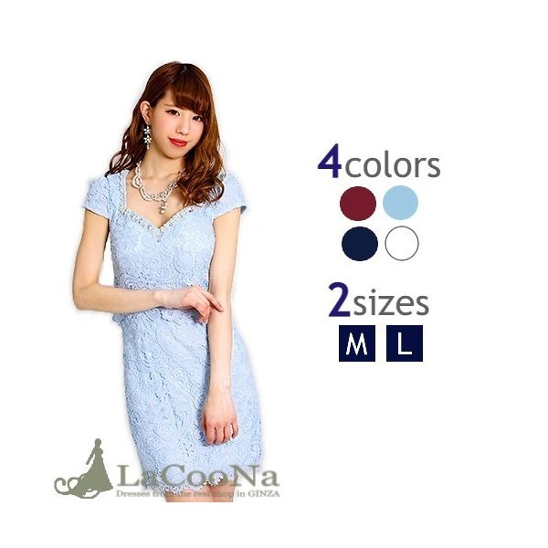 d017ae455a4b6  M Lサイズ フラワーレース☆ツーピース風ミニドレス ワンピース パーティードレス ...