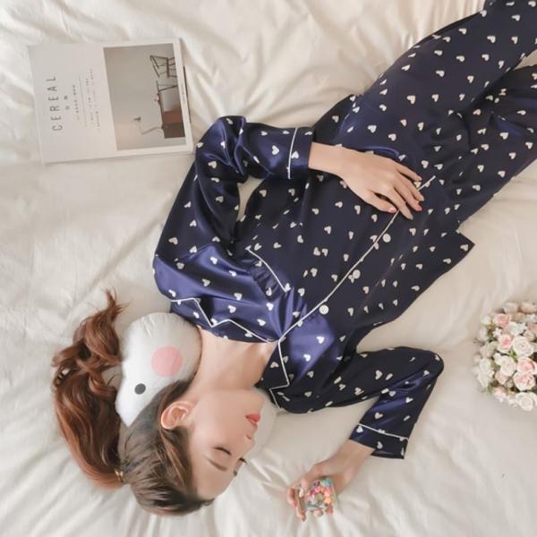 ハート柄シルク風パジャマ
