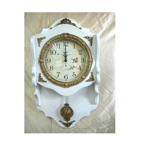 有限会社フローラルインテリアデザイナーズ家具高級壁掛け時計振り子時計エレガントホワイト時計ライト家具