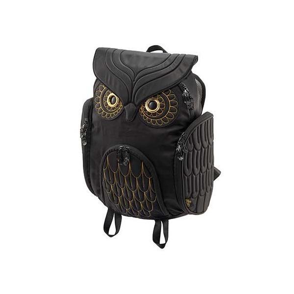 Hug.FACTORY The owls ミミズクバックパックゴールドエンブロ OW-381 リュックサック MORN  ジッパー付き ショルダーストラップ 撥水加工ナイロン 大人リュック