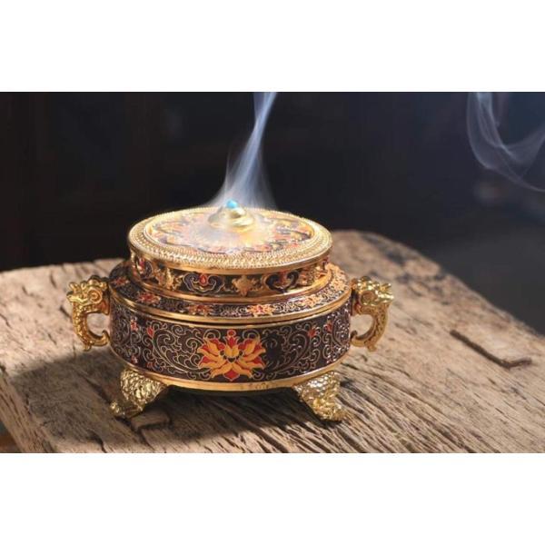 お香立て 線香立て 香炉 アンティーク 真鍮 皿 風水 仏具 おしゃれ 小物入れ 灰皿 置物 (紫)|lafeuille-store|02