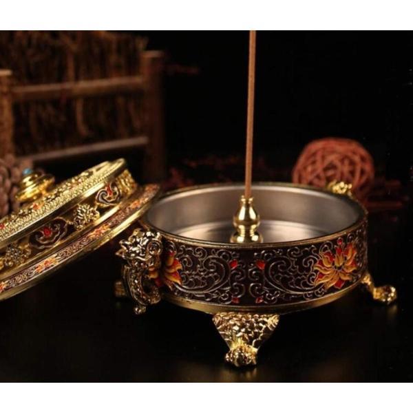 お香立て 線香立て 香炉 アンティーク 真鍮 皿 風水 仏具 おしゃれ 小物入れ 灰皿 置物 (紫)|lafeuille-store|03