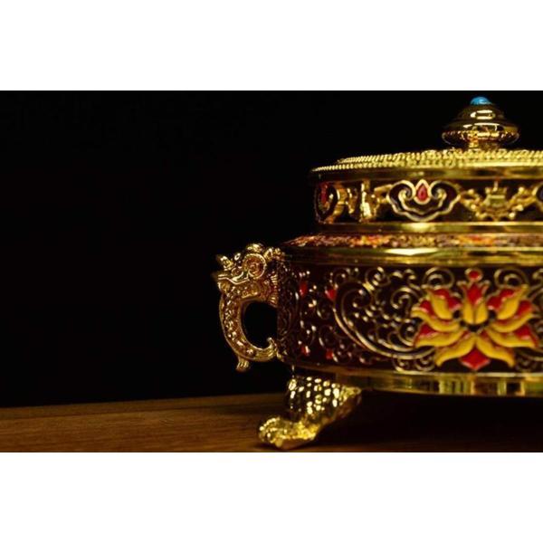 お香立て 線香立て 香炉 アンティーク 真鍮 皿 風水 仏具 おしゃれ 小物入れ 灰皿 置物 (紫)|lafeuille-store|04