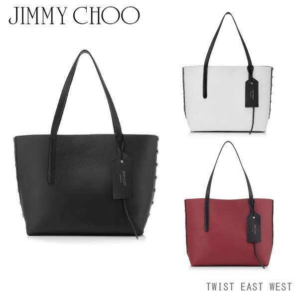 『JIMMY CHOO-ジミーチュー-』TWIST EAST WEST[OSJ][クリスタルスター レザートートバッグ スタッズ 内部ポケット]